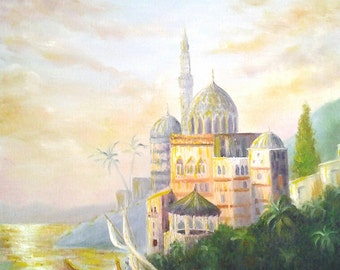 Original Fairytale Oil Painting Princess Castle Princess Room Decor Texured Artwork *Castle by the Sea*