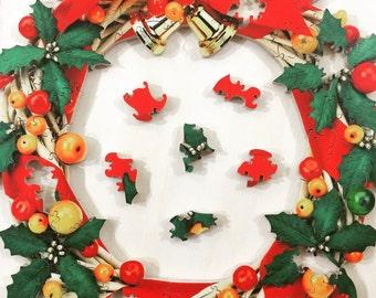Rustic Christmas Holly Wreath Wooden Jigsaw Puzzle Handmade - Rustic Wreath - Rustic Christmas - Holly Wreath - Holiday Wreath - Christmas