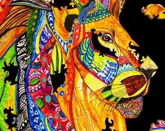 King of the Lions Puzzle - Lion Head Puzzle - Lion Art Puzzle - African Lion Puzzle - Lion mane jigsaw puzzle Lion Mane wooden puzzle