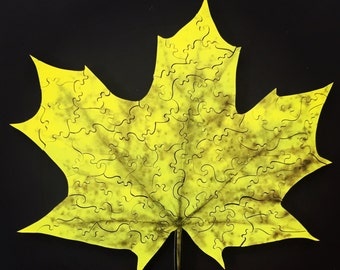 Yellow Maple Leaf Wooden Puzzle - Maple Leafs - Maple Leaf Art - Maple Leaf Puzzle
