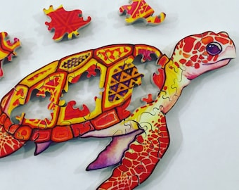 BABY SEA TURTLE - Hand Cut Wooden Jigsaw Puzzle