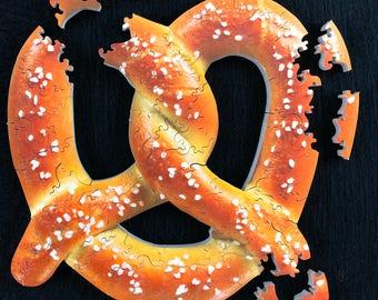 A salty Twist pretzel  Hand Cut Wooden Jigsaw Puzzle - twisted pretel - pretzel - pretzel art - NYC Pretzel - Pretzel Puzzle - NY Pretzels