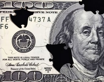 100 Dollar Bill - Ben Franklin - wooden jigsaw puzzle one hundred dollar puzzle