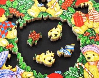 Teddy Bear Christmas Wreath Puzzle - Teddy Bear - Christmas Wreath - Christmas Art - Christmas Puzzle - Teddy Bear Art - Teddy Bear Puzzle