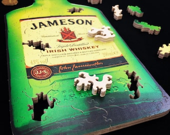 Jameson Whiskey Label Wooden Jigsaw Puzzle - Jameson - Jameson Whiskey - Whiskey - Jameson Puzzle - Jameson Gifts - Bottle - Puzzle