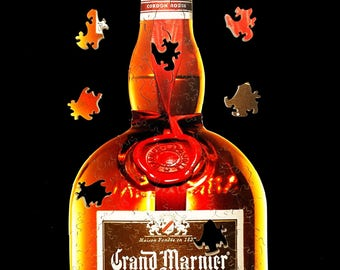 Grand Marnier Bottle - Hand Cut Wooden Jigsaw Puzzle - cordon rouge orange liqueur - Grand Marnier Label Puzzle Gifts unique gift