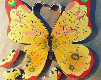 Butterfly - hand cut wood jigsaw puzzle by MGC