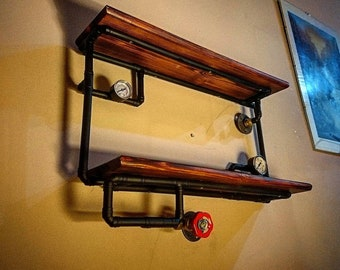 More Colours. Retro Industrial Rustic Hardwood Shelves   Steampunk Wall Art