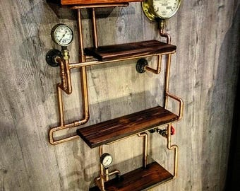 More Colors. Retro Industrial Rustic Hardwood Shelves   Steampunk Wall Art