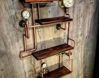 Retro Industrial Rustic Hardwood Shelves - steampunk wall art