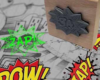 Zap Pop Art Rubber Stamp