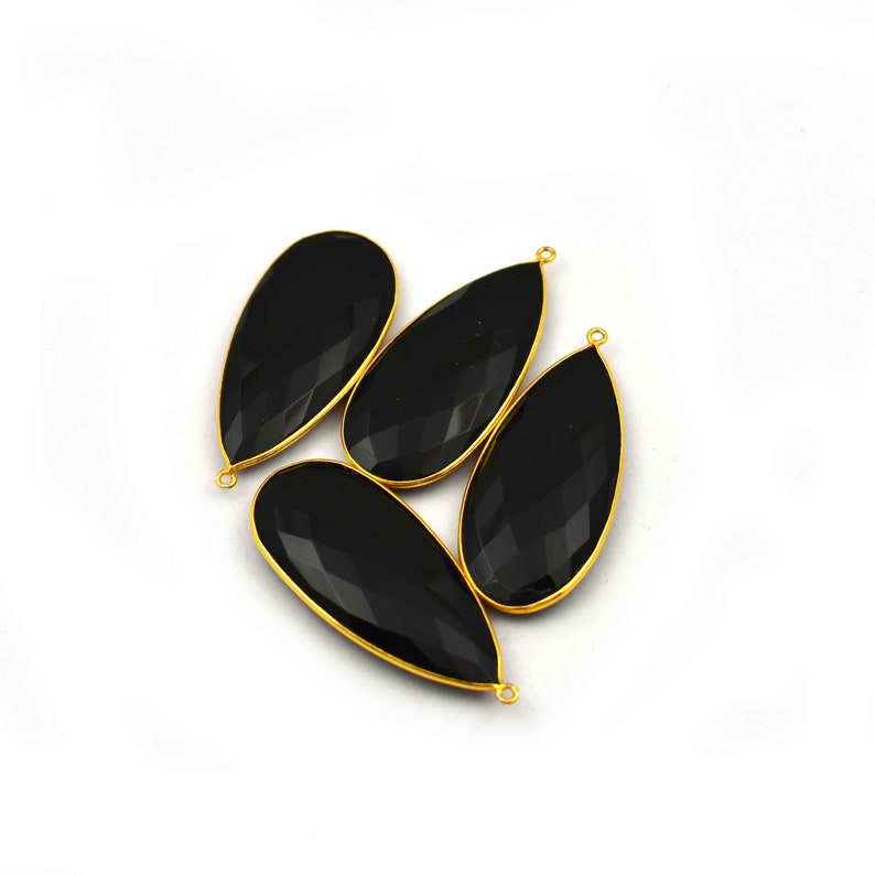 2 Pieces Hydro  Black Onyx Faceted Pear Shape 24k Gold Plated Single Bail Pendant 50mmX21mm