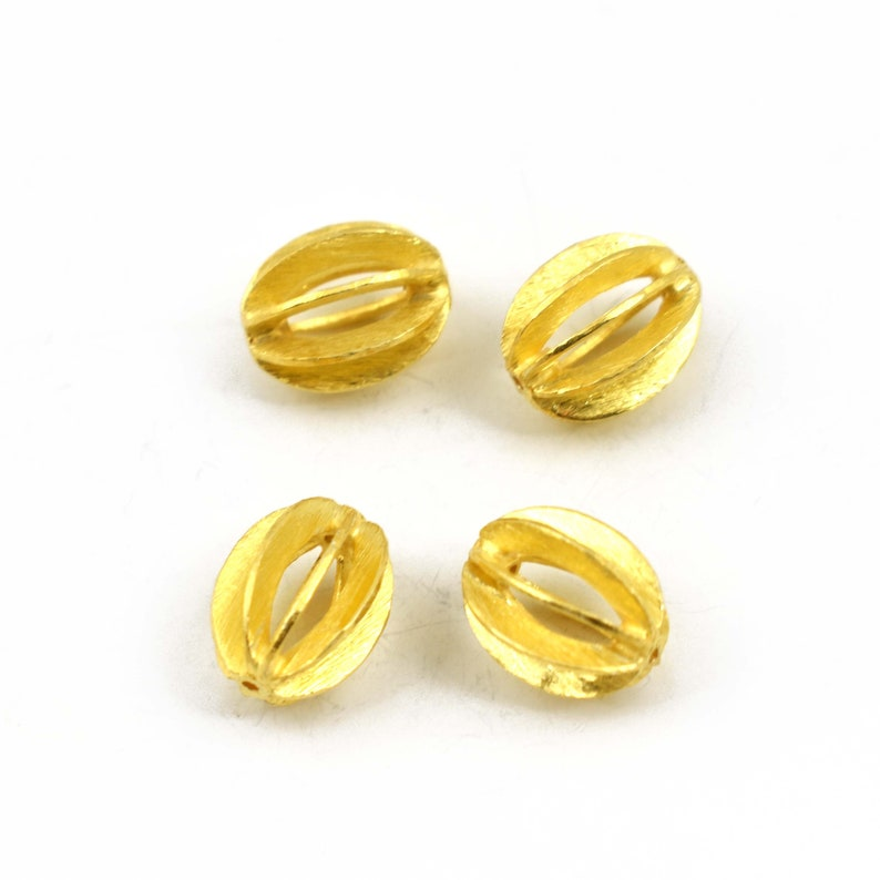 Heart Shape Brushed  Gold Vermeil Spacer beads Gold  for jewelry making 12 MM 4 Piece Finest Quality 925 Sterling Silver