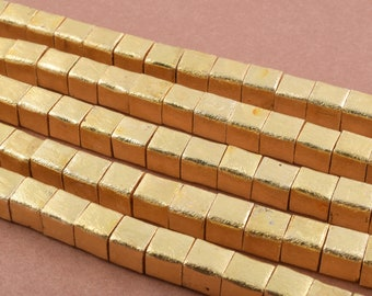 1 Strand  10mm - 20pc Gold  plated Cube Beads, handmade Box Spacer beads, brushed square beads Copper beads,8 Inch