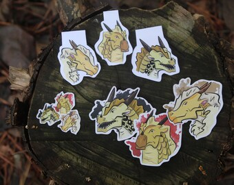 Wings of Fire BLISTER, BLAZE, and BURN Magnetic Bookmark, Stickers, and Mini Stickers Set