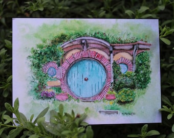 """Lord of the Rings The Hobbit Hobbit Hole Watercolor Print 4.25"""" x 6"""" approx."""