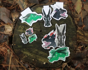 Wings of Fire LEGENDS: DARKSTALKER Magnetic Bookmark, Stickers, and Mini Stickers Set