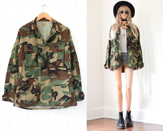 Vintage Military Jacket US Army Green Camo 70s Arm