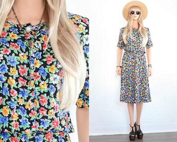Vintage Floral Dress Grunge Dress Floral Midi Dres