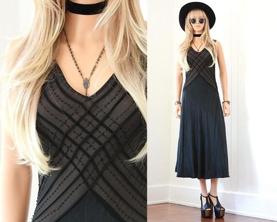 Black Silk Slip Dress 90s Slip Dress 90s Grunge Bl