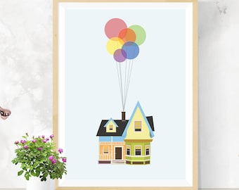 Disney Pixar Up Poster Print - Floating House | A2 Size-Resizable | Printable | Digital Download | Wall Art | Movie Poster | Minimalist