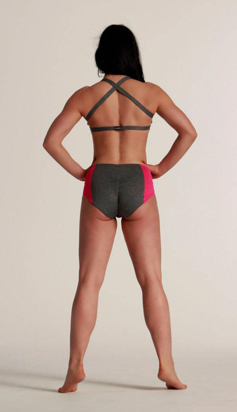 Women\u2019s Shorts Raya  High waisted  Gray wPink neon  Hot Yoga  Pole Dance  Twerk  Booty  Sportswear  Activewear  Outfit