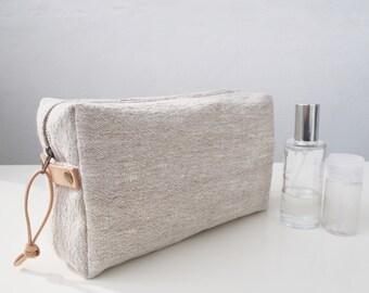 df9d1bbd327d5e Linen Wash Bag, Linen Toiletry Bag, Linen Makeup Bag, Linen Travel Bag,  Linen Pouch - Plain / Natural Leather