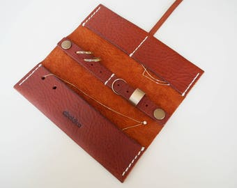 Leather Travel Jewellery Roll, Leather Travel Jewellery Case, Leather Jewellery Organiser, Leather Travel Watch Roll - Tan