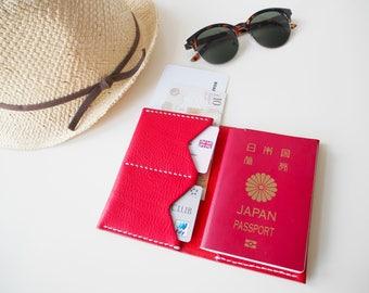 Leather Passport Holder, Leather Passport Cover, Leather Passport Sleeve, Passport Wallet - Red