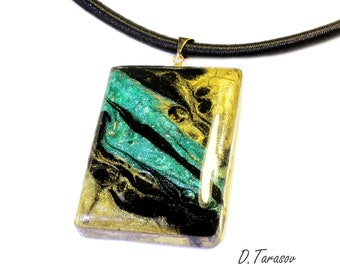Necklace Pendant Wood pendant Resin necklace Wooden pendant Epoxy jewelry Art