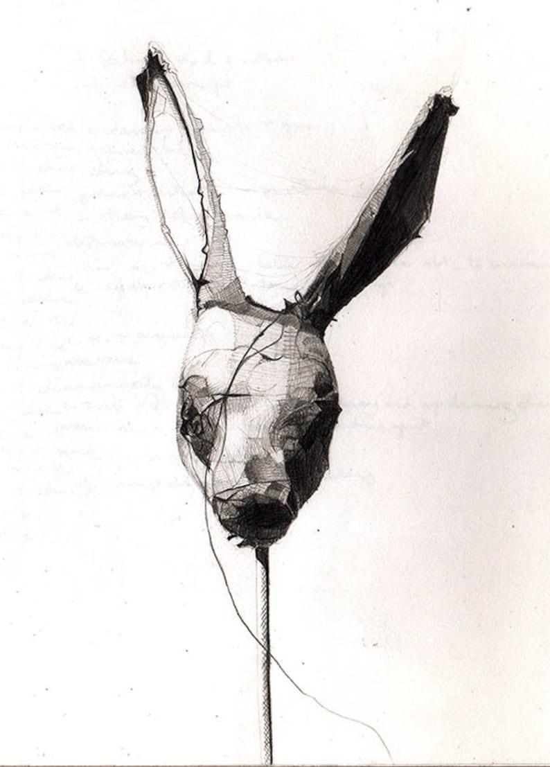 Original Art Postcard Macabre Pencil Drawing Eden Project Hare Goth A4 A5