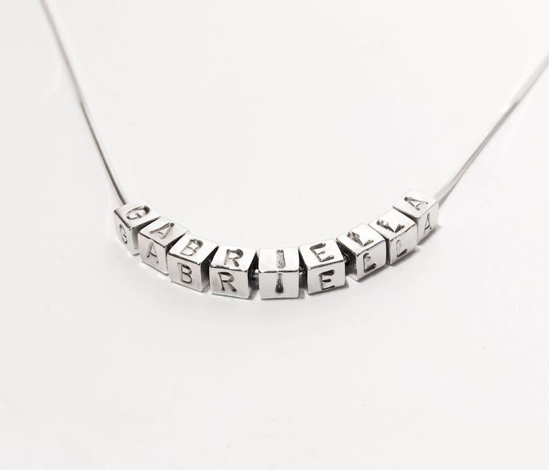 d03f7d5739 Silber Namenskette Brief Cube Halskette gestempelt Alphabet | Etsy