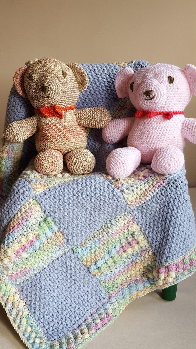 "Vintage Crochet Pattern Baby/'s /""Square/"" Motif Pram Blanket Cover FREE UK P/&P"