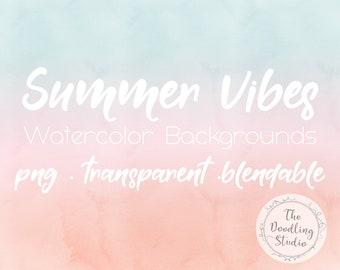 Watercolour Background Textures Summer Vibes  - 12 BACKGROUNDS (png, transparent, bendable) - Digital Download