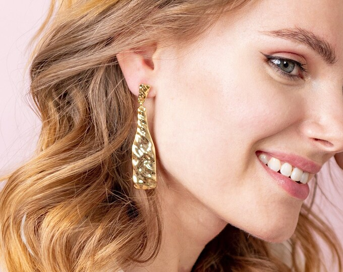 Gold Dangle Earrings for Women, Wine Bottle Shaped Teardrop Dangles, 18k Gold Plated Hammered Earrings with Titanium Posts
