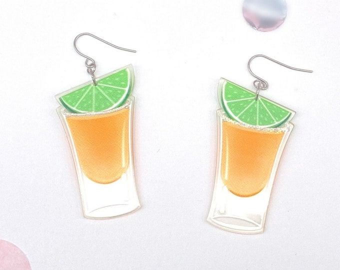 Tequila Shot Earrings, Tequila and Lime Dangle Earrings, Hypoallergenic Acrylic Earrings with Titanium Steel Ear Wires