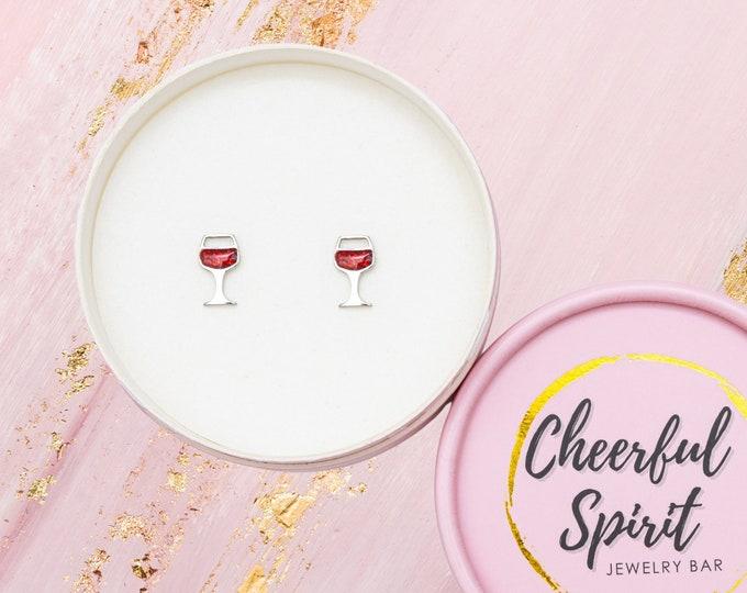 Red Wine Glass Stud Earrings, Wine Lover Gift for Women, Fun Earrings for Wine Night