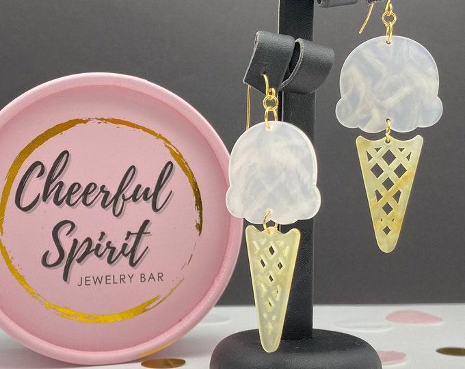 Ice Cream Earrings, Summer Earrings, Ice Cream Waffle Cone Earrings made of Acetate Acrylic