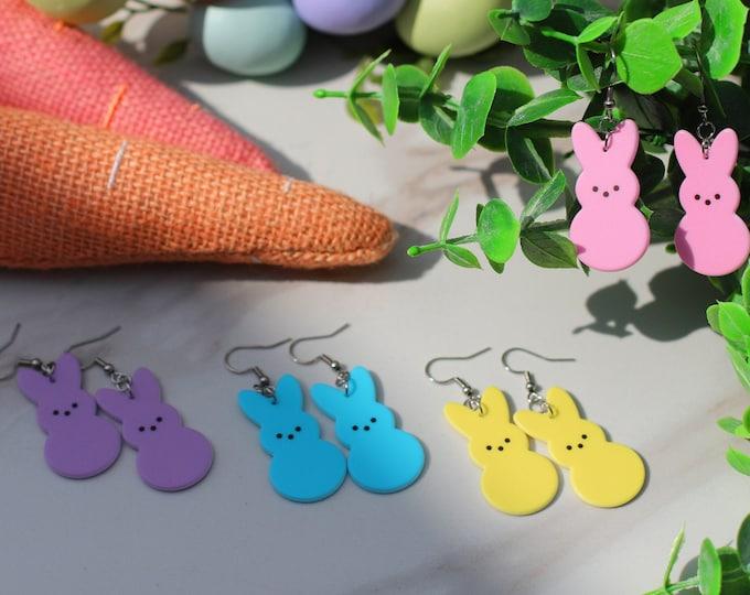 Easter Bunny Dangle Earrings, Festive Easter Peeps Earrings, Sensitive Earrings for Easter, Easter Titanium Earrings