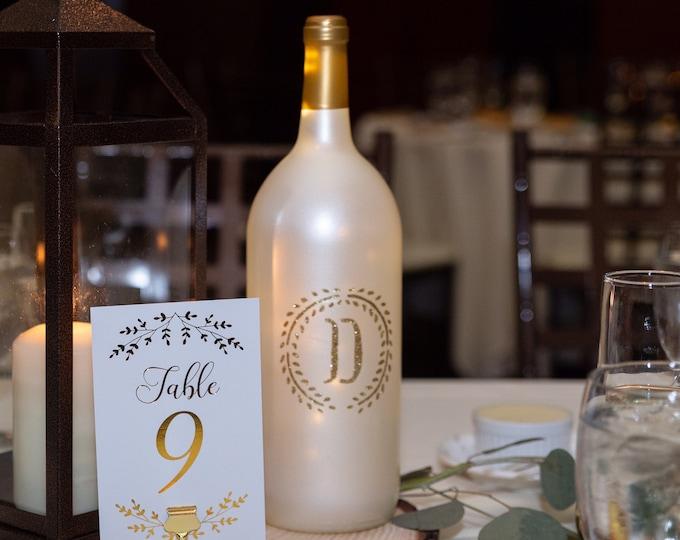 Custom Monogrammed Wine Bottle Centerpiece, Wine Bottle Lights Party Centerpiece, Monogrammed Gift for Wine Lovers
