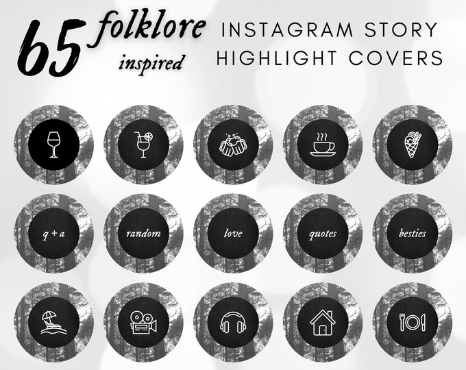 Instagram Story Highlight Icons, Swiftie IG Highlight Story Covers, Story Highlight Covers in Black and White Forest for Instagram