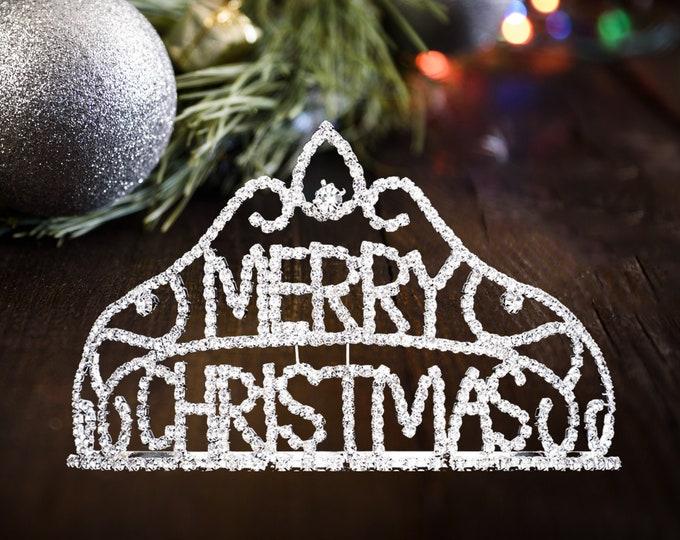 Christmas Tiara Headband, Merry Christmas Crown, Christmas Queen, Merry Christmas Rhinestone Pave Crystal Tiara