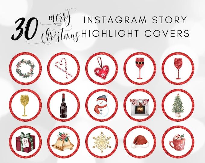 Christmas Instagram Story Highlight Icons, IG Highlight Covers, Holiday Story Highlight Covers for Instagram