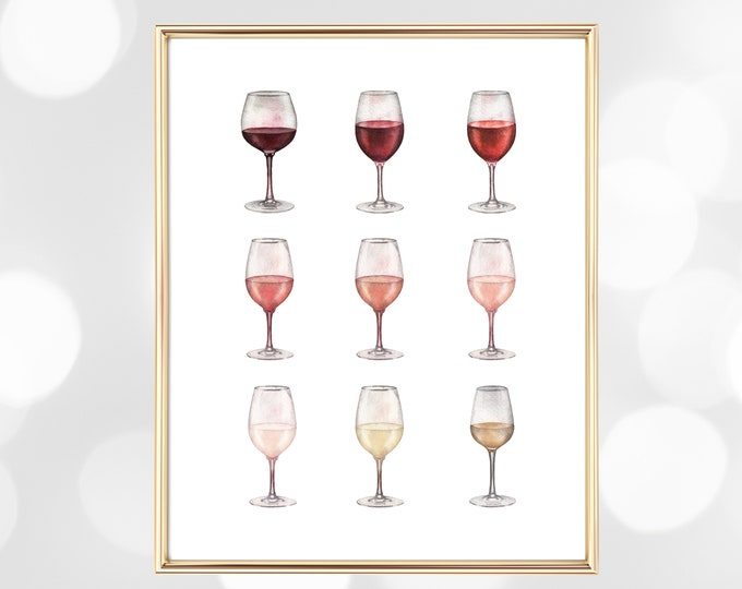 Wine Poster Wine Printable, Ombre Wine Glass Watercolor Art Print, Wine Lover Printable Gift, Wine Glass Print Decoration