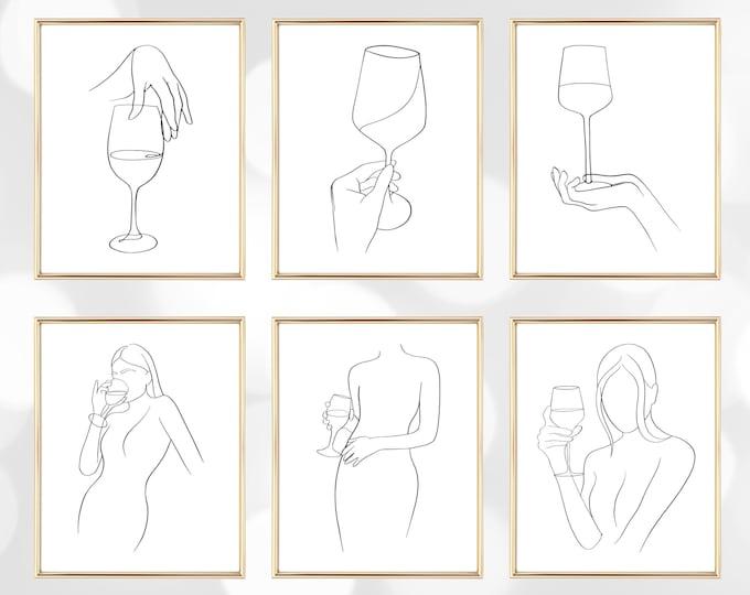 Wine Line Art Printable Set, Black and White Wine Printable, Line Drawing Art, Wine Lover Digital Download