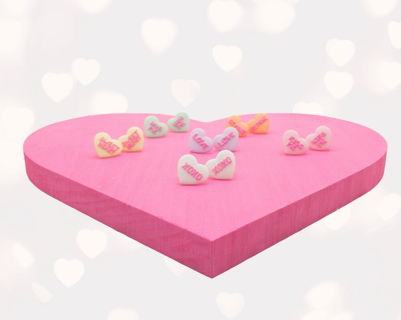 Candy Heart Stud Earrings Valentines Day Conversation Heart image 0