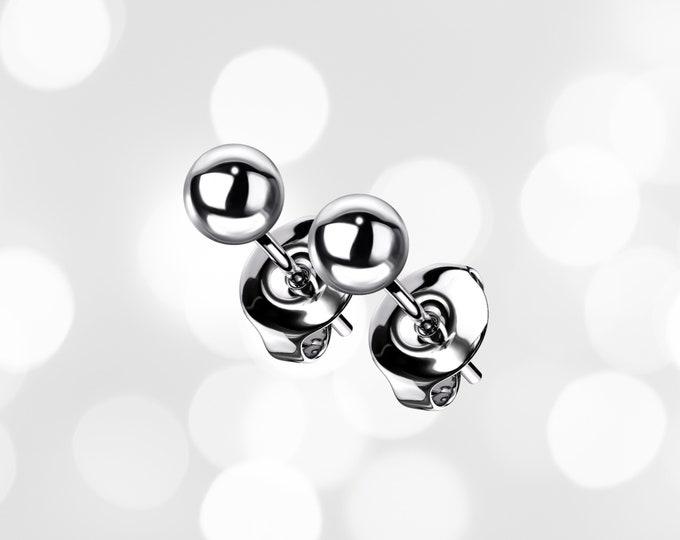 Titanium Ball Stud Earrings 4mm,  GR23 Titanium Ball Studs, Hypoallergenic Titanium Starter Stud Earrings