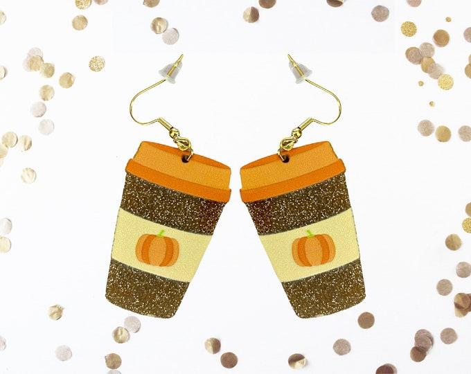 Pumpkin Spice Latte Earrings, Semi-Opaque Glitter PSL Dangle Earrings, Friendsgiving Favor Fall Earrings, Pumpkin Spice Life