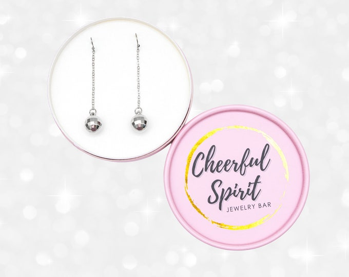 Disco Ball Dangle Earrings, Party Earrings, Mirrorball Earrings made with Titanium Wire Hooks