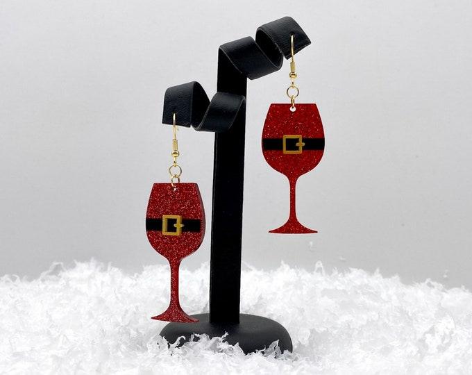 Santa Belt Wine Lover Earrings, Secret Santa Earrings, White Elephant Christmas Gift, Fun Christmas Party Earrings, Stocking Stuffer for Her